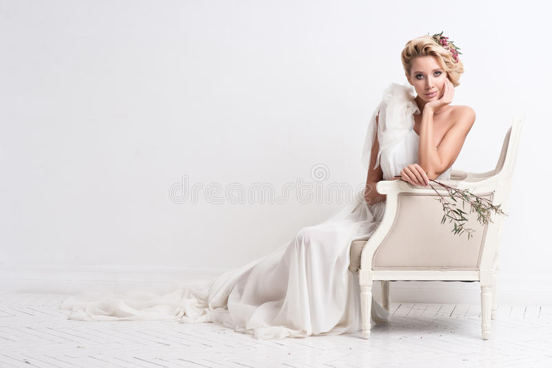 Portrait of beautiful bride. Wedding dress. Wedding decoration royalty free stock photo