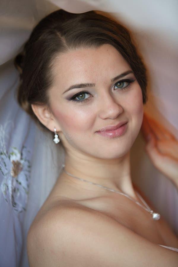 Portrait of beautiful bride. Wedding dress. Wedding decoration stock image