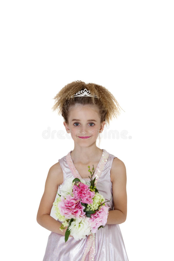 Portrait Of Beautiful Bridesmaid Holding Flower Bouquet Over White Background Stock Photos