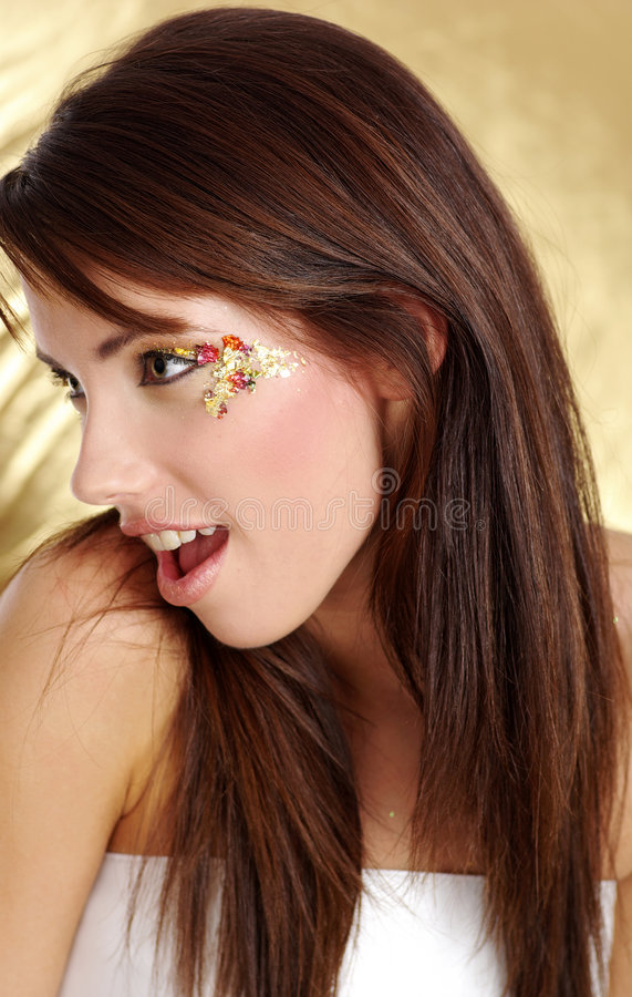 Portrait of a beautiful brunette stock photography