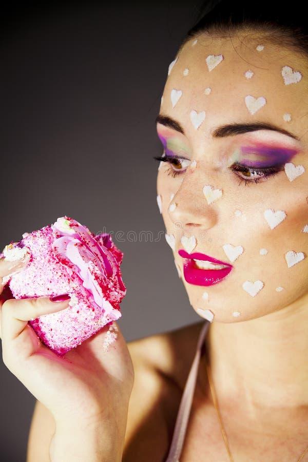 Portrait Beautiful Brunette  Eating Cake Stock Photography