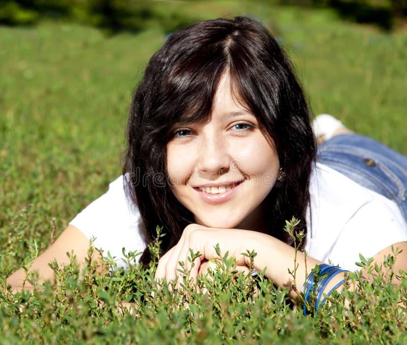 Portrait of beautiful brunette girl stock images