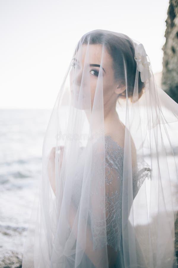 Portrait of beautiful brunette girl under a veil, in a grey blue dress, sea, wave, close-up. Portrait of beautiful brunette girl under a veil, in a grey blue stock photos