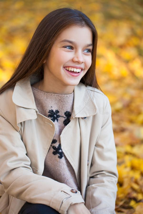 Portrait of a beautiful brunette little girl, autumn park outdoors stock image