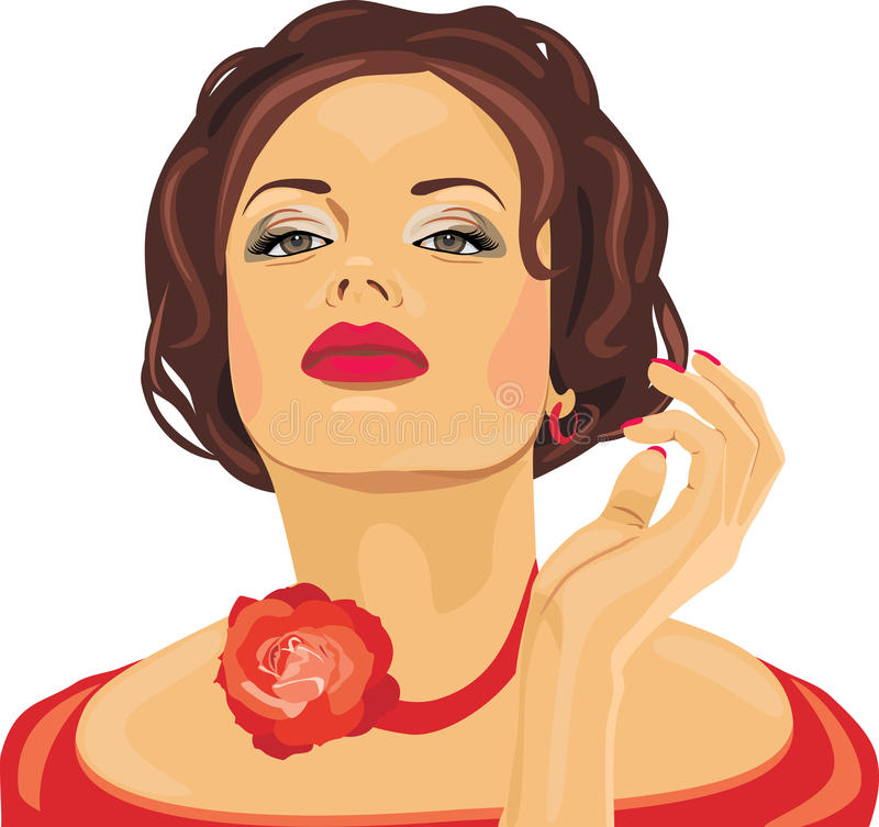 Portrait of a beautiful brunette with red rose on her neck royalty free stock photography