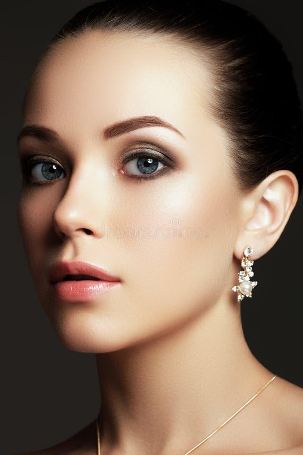 Portrait of beautiful brunette woman. Fashion portrait stock images