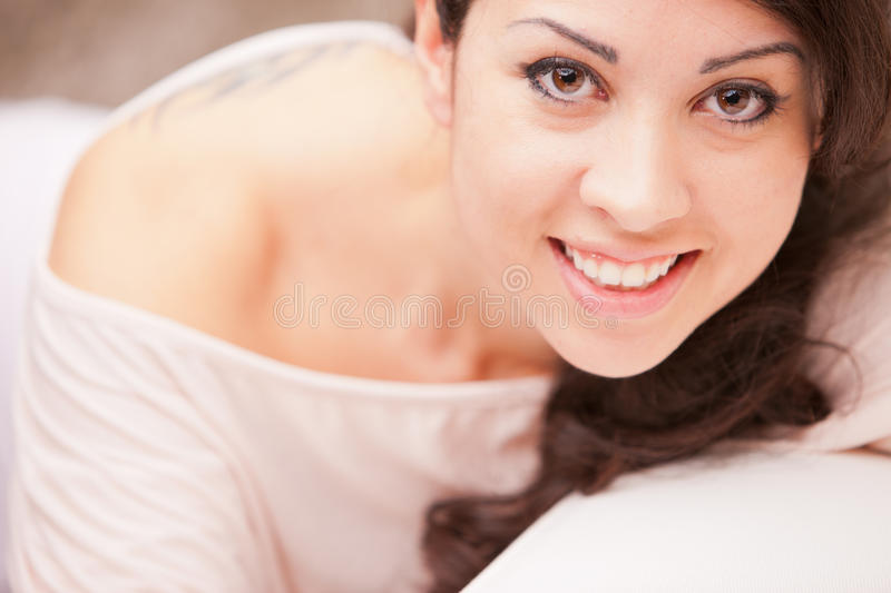 Portrait of a beautiful brunette with wonderful eyes royalty free stock photo