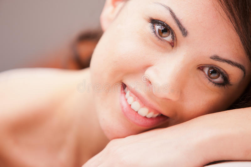 Portrait of a beautiful brunette with wonderful eyes stock photography