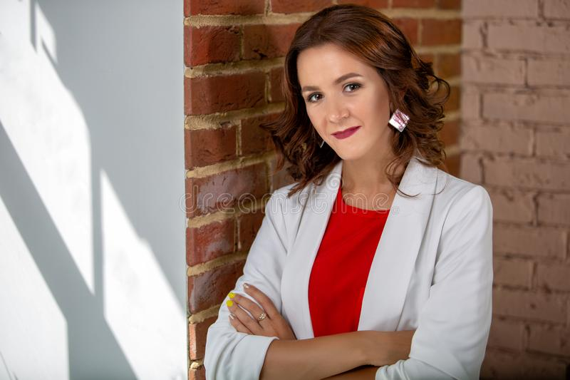 Portrait of a beautiful business woman. Photo in the room stock photos