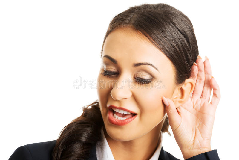 Portrait of beautiful businesswoman overhears royalty free stock images