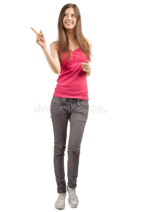 Download Portrait Of Beautiful Casual Girl Pointing Stock Image - Image: 19156131
