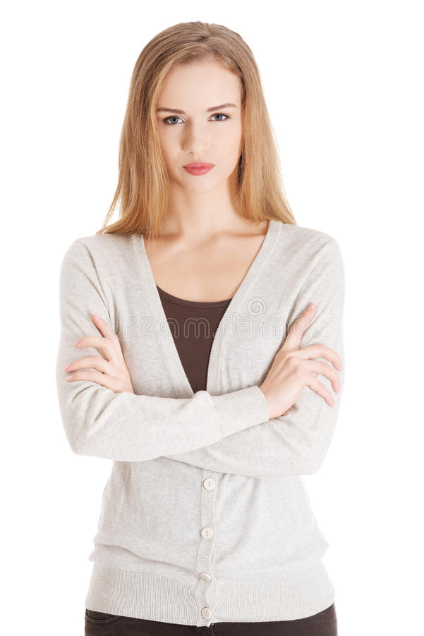 Portrait of beautiful casual serious woman. royalty free stock photos