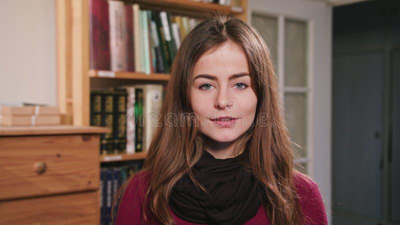 Portrait of Beautiful caucasian brunette woman stock photo