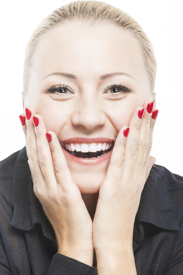 Portrait of Beautiful Caucasian Woman Smiling with Open Mouth wi stock photos