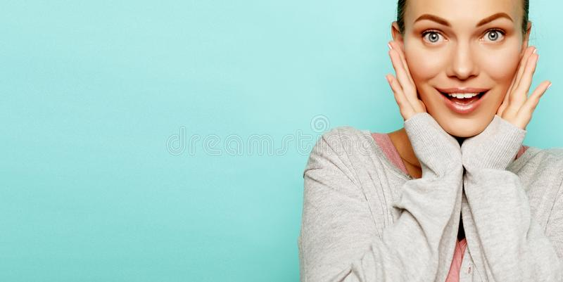 Portrait of beautiful cheerful girl smiling laughing looking at camera stock photo