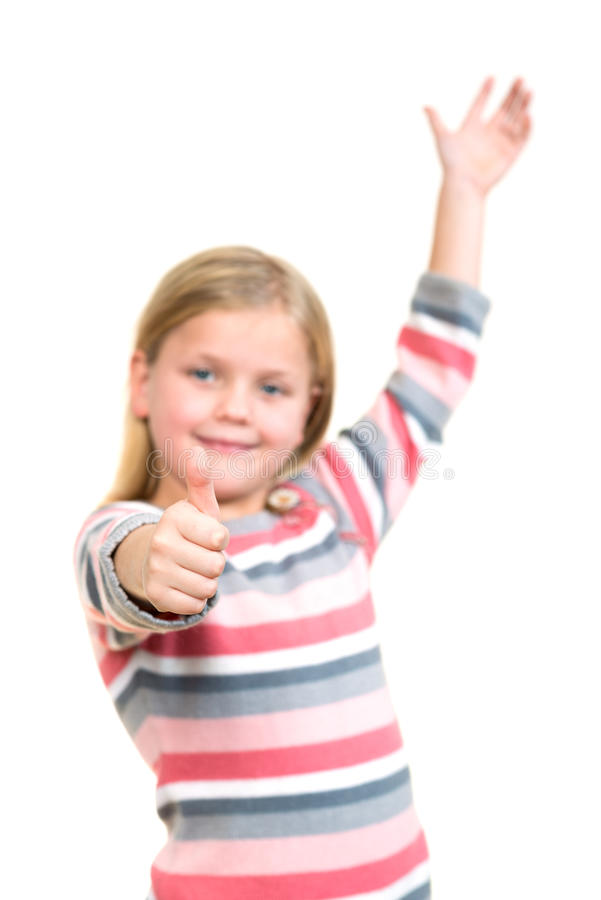 Portrait of a beautiful and confident girl showing thumbs up isolated one white.  stock images