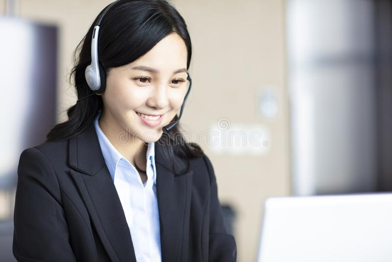 Asian beautiful customer service representative stock photography