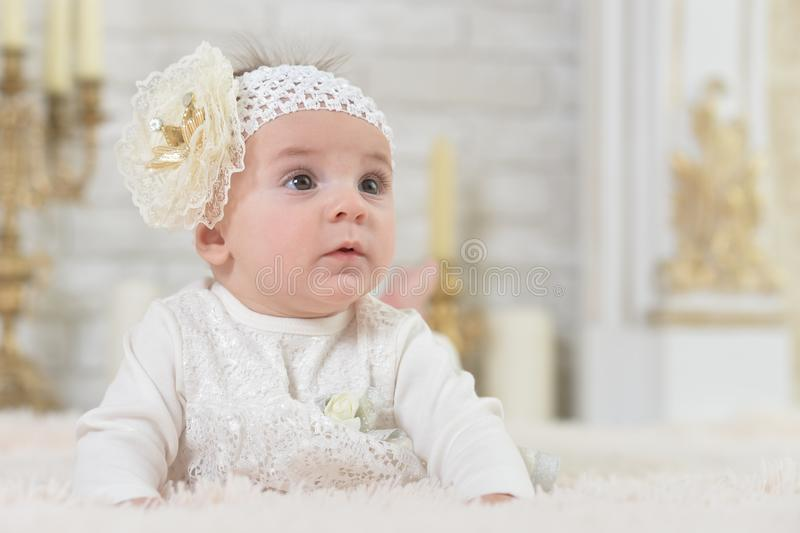 Portrait of beautiful cute adorable little girl posing stock photography