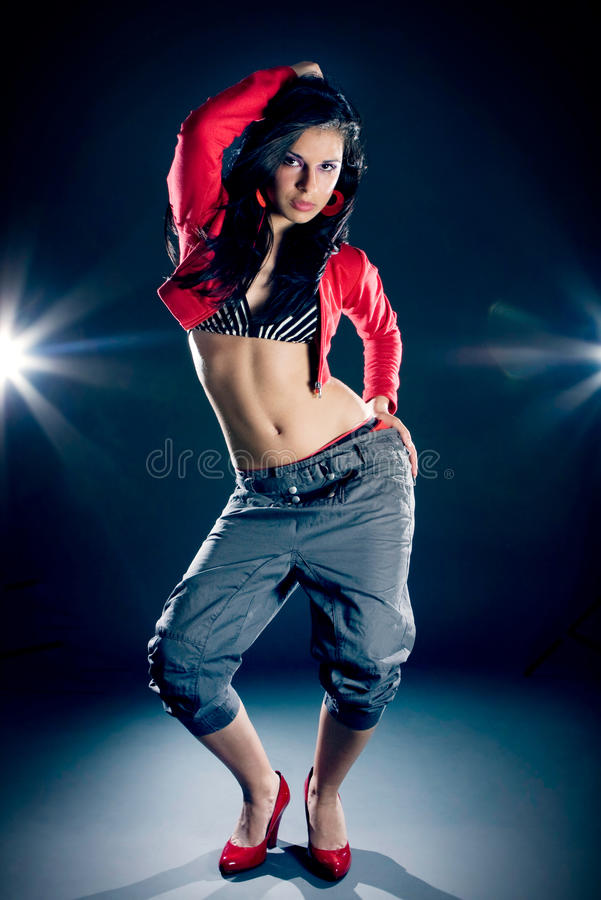 Portrait of a beautiful dancing girl royalty free stock photos