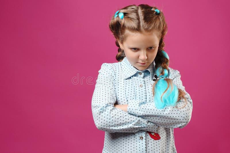 Portrait of an emotional girl stock photos
