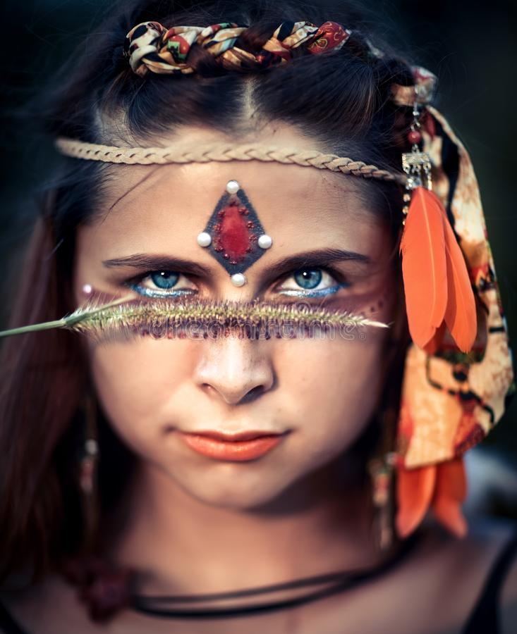Portrait of a beautiful ethnic woman royalty free stock photo