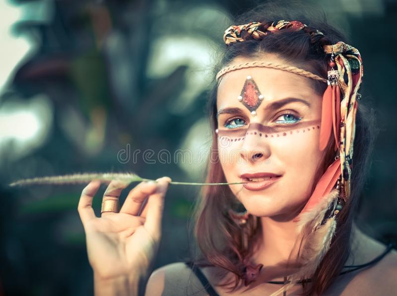 Portrait of a beautiful ethnic woman stock photos