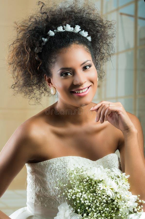 Portrait of beautiful exotic latin bride wearing stock images