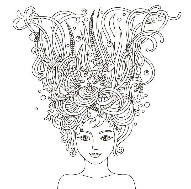 Portrait of beautiful fashion women with abstract wavy hair. royalty free illustration