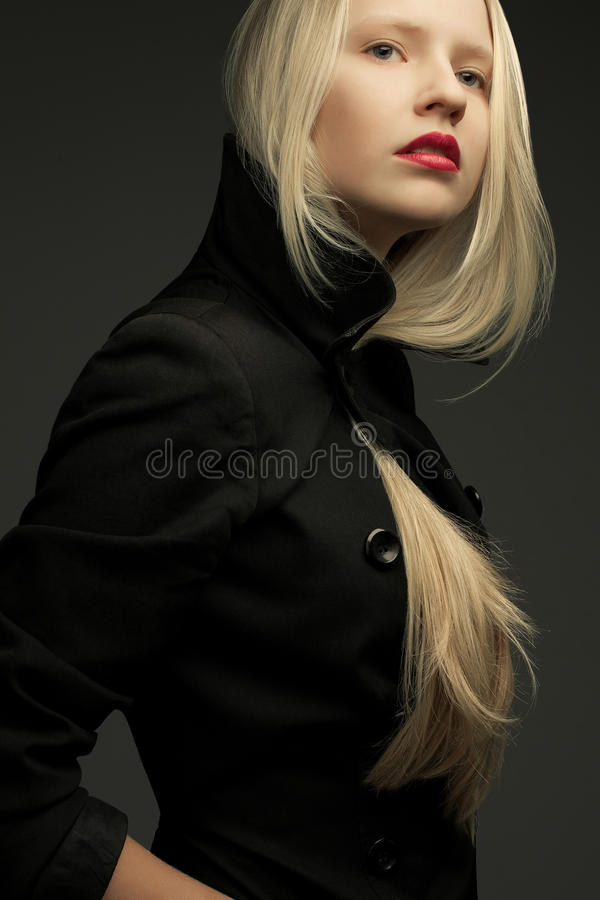 Portrait of beautiful fashionable model with natural blond hair. Portrait of a beautiful fashionable model with natural blond hair and great make-up in trendy stock images