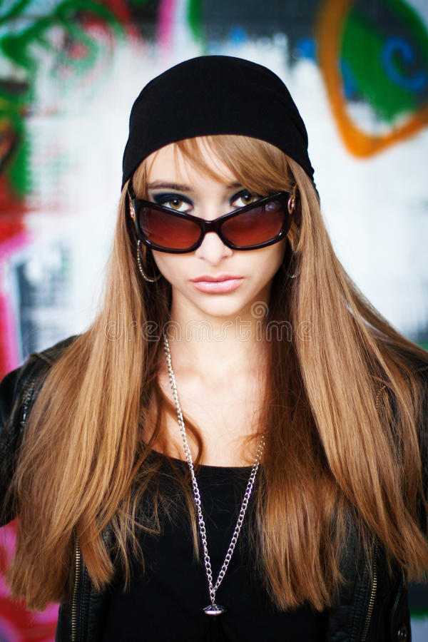 Portrait of beautiful fashionable woman royalty free stock image