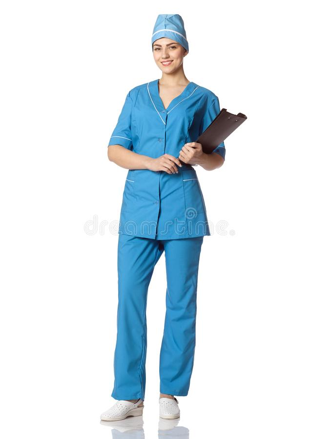 Portrait of a beautiful female doctor with a black folder in a p stock photography