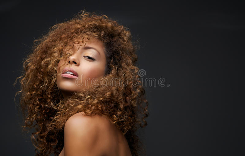 Download Portrait Of A Beautiful Female Fashion Model With Curly Hair Stock Photo - Image: 34881354
