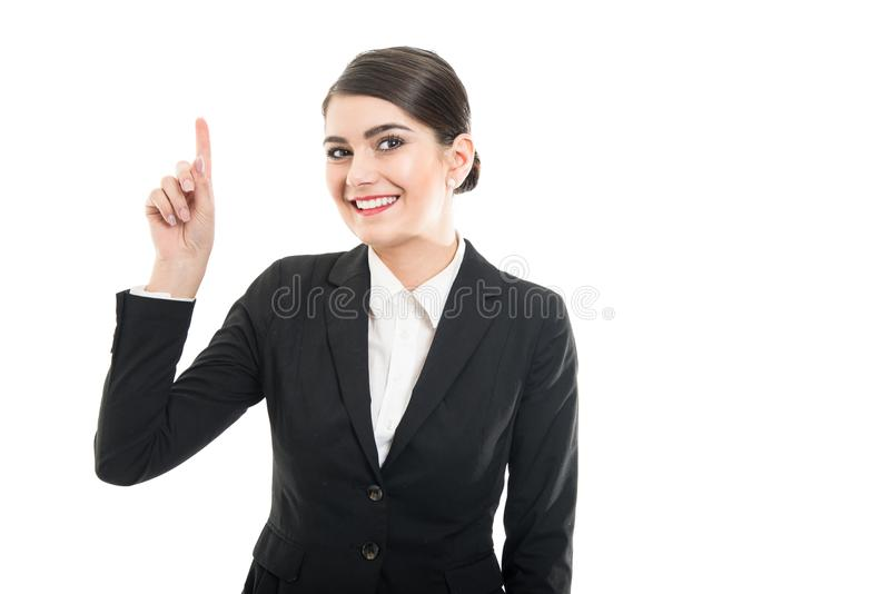 Portrait of beautiful female flight making good idea gesture. And smiling on white background with copyspace advertising area royalty free stock images