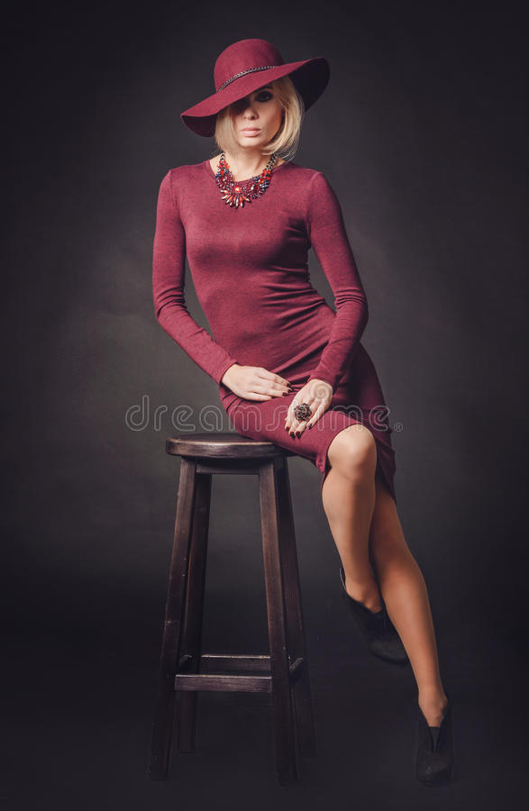 Portrait of beautiful female in red clothing looking at the camera. Portrait of beautiful female in red clothing stock photography