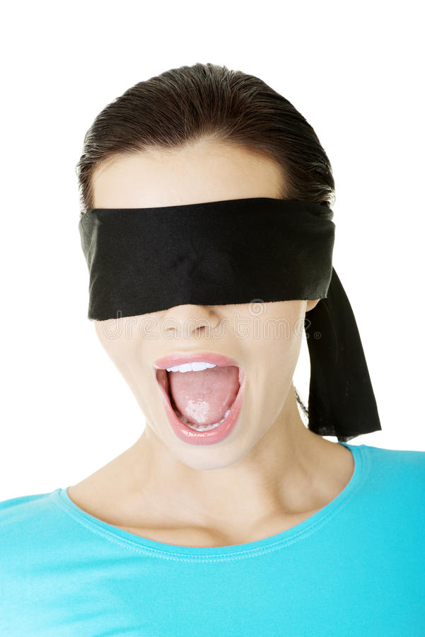 Download Portrait Of A Young Blindfold Woman Screaming Stock Photo - Image of 30, adult: 29851938