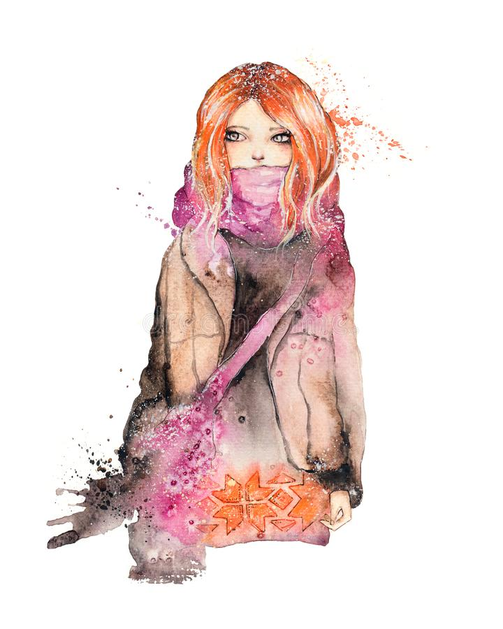 Portrait of beautiful ginger girl in winter stock illustration