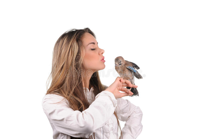 Download Portrait Of Beautiful Girl With Bird Stock Photo - Image: 29108462