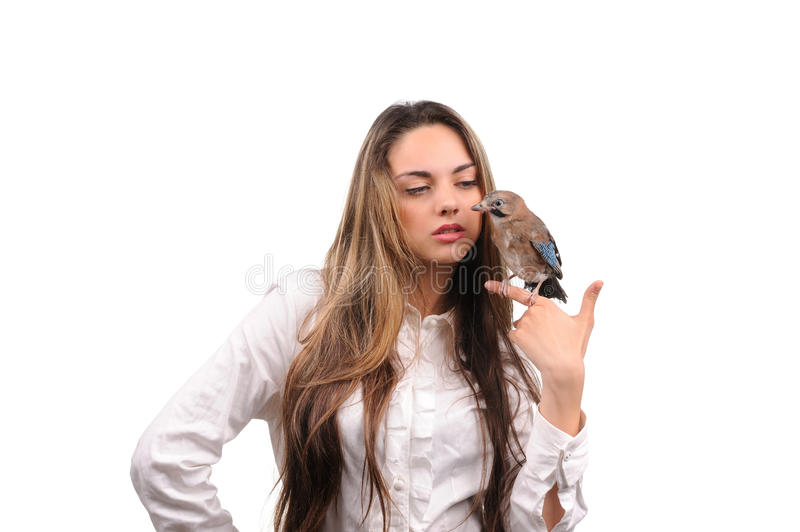 Download Portrait Of Beautiful Girl With Bird Stock Photo - Image: 29108474