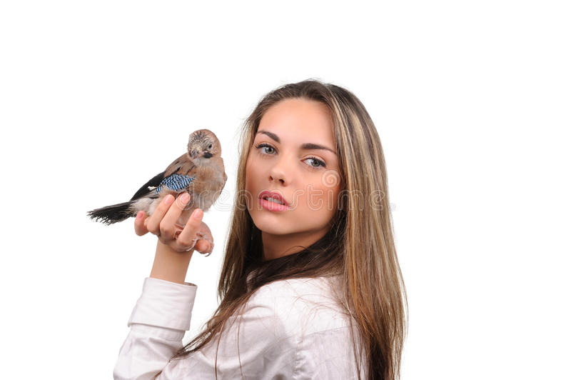Download Portrait Of Beautiful Girl With Bird Stock Photo - Image: 29108476