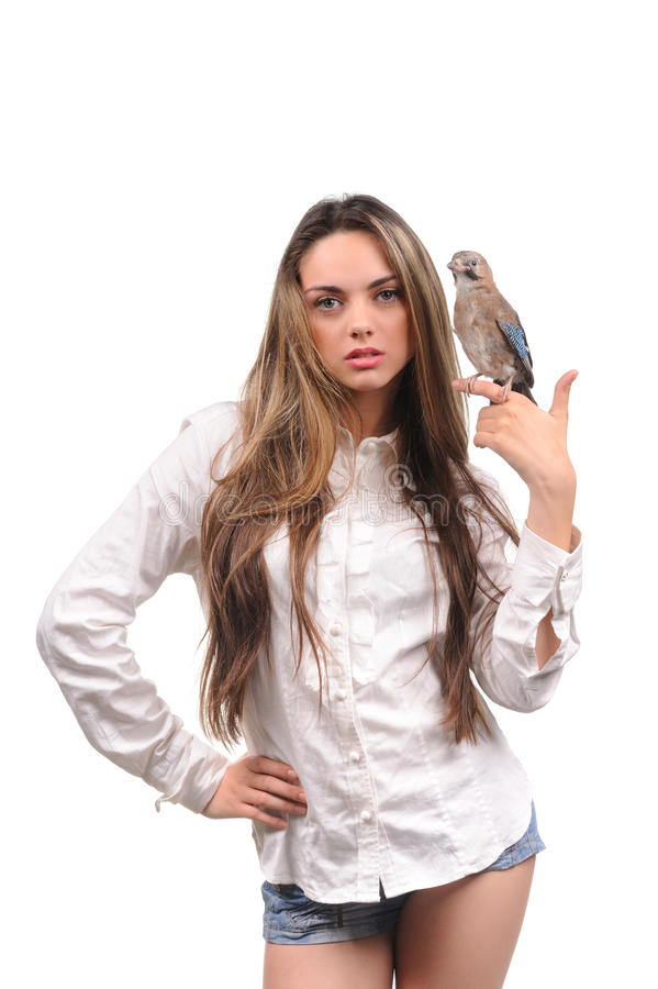 Download Portrait Of Beautiful Girl With Bird Stock Photo - Image: 29108478