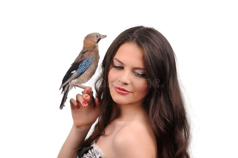 Portrait Of Beautiful Girl With Bird Stock Image