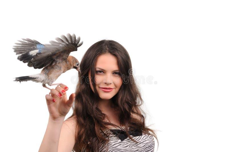 Portrait Of Beautiful Girl With Bird Stock Photos