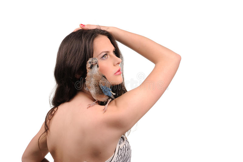 Download Portrait Of Beautiful Girl With Bird Stock Photo - Image: 29108498