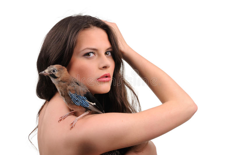 Portrait Of Beautiful Girl With Bird Stock Image