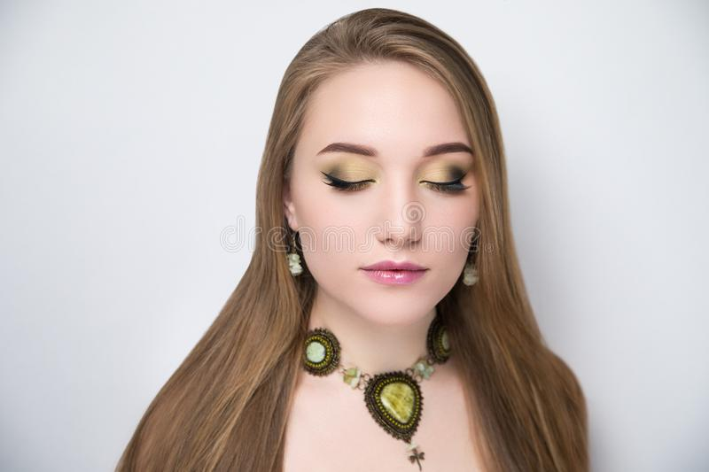 Portrait of beautiful girl with bright make up stock images