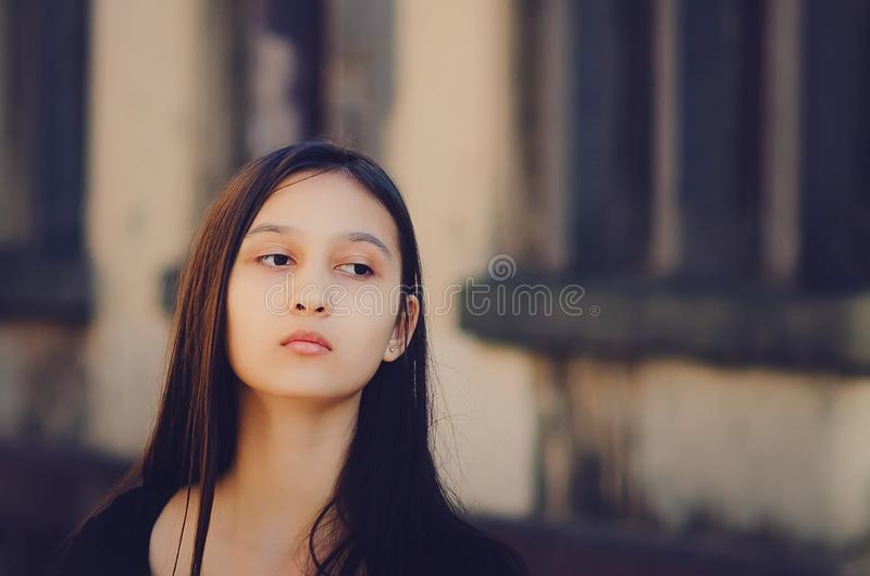 Portrait of a beautiful girl, brown toning royalty free stock image
