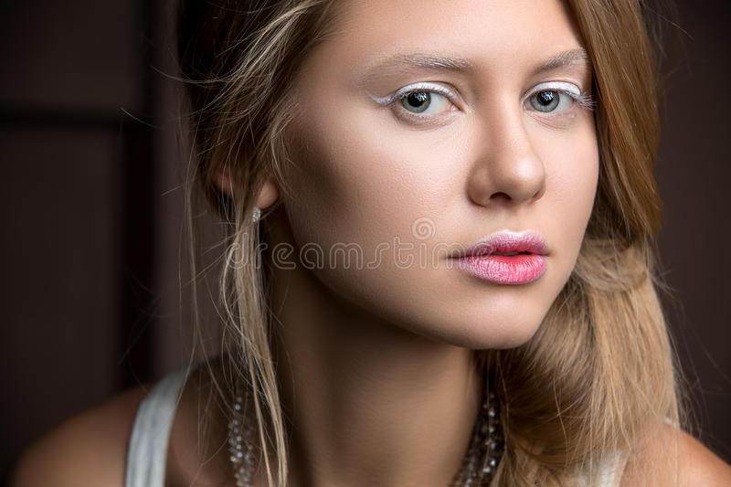 Portrait of beautiful girl close-up royalty free stock images