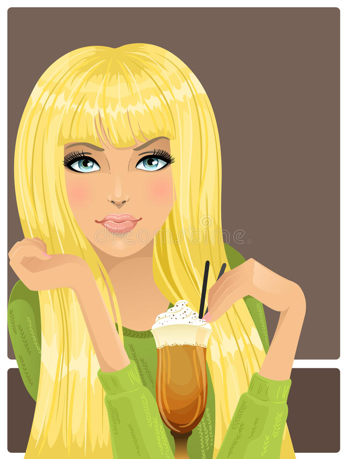 Portrait of beautiful girl with cocktail royalty free illustration