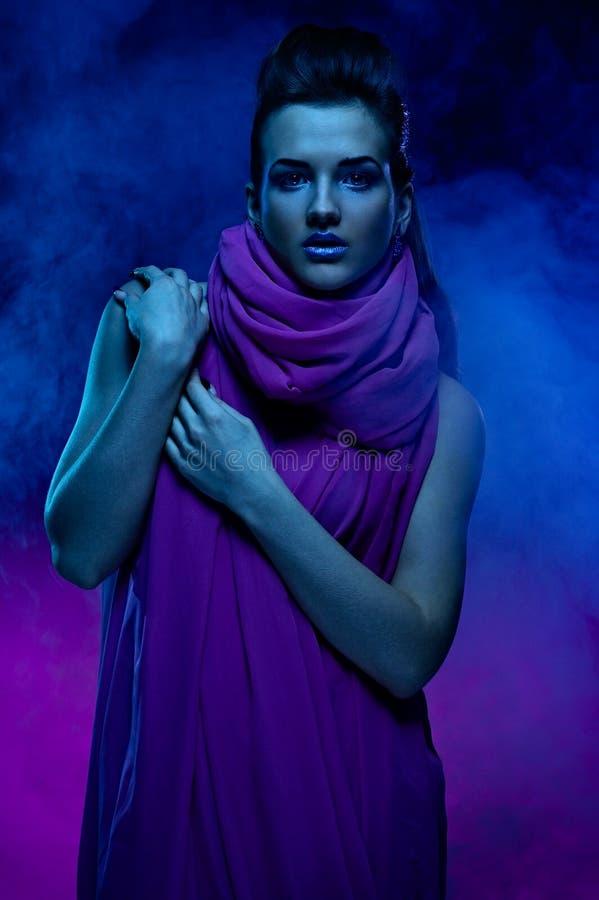 Download Portrait Of The Beautiful Girl In Dark Tones Stock Image - Image: 17558901