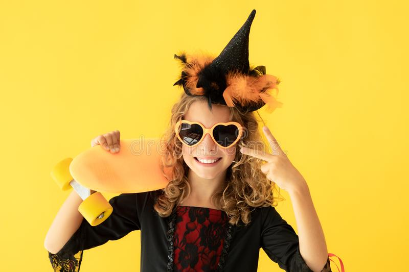 Beautiful girl dressed witch costume royalty free stock photography
